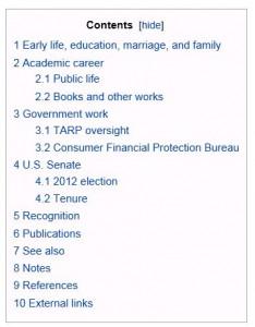 Elizabeth Warren - Wikipedia Contents 1-11-2013 935 Eastern