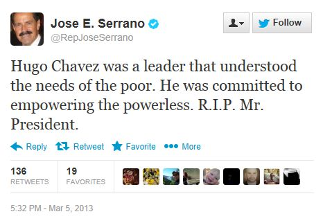 Twitter - @RepJoseSerrano - Chavez Death