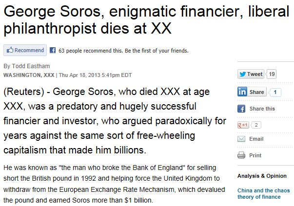 Soros Obituary Reuters 1