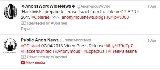 Twitter - OpIsrael Tweets