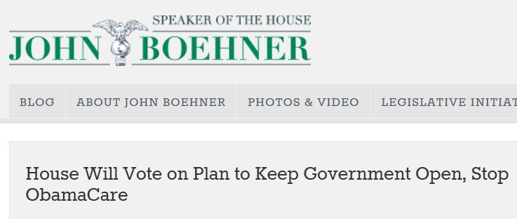 Boehner statement keeping government open