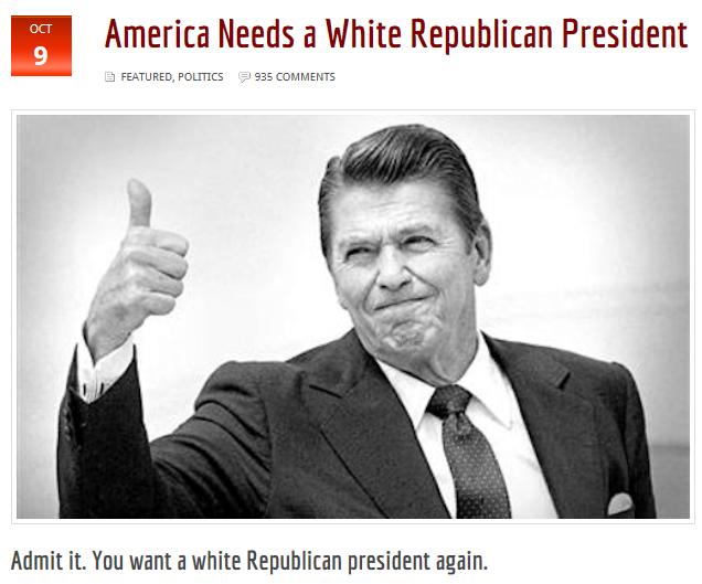 Blacksphere America Needs a White Republican President
