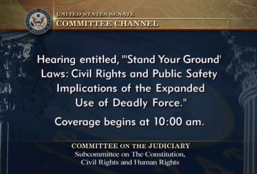 "US Senate hearing: ""Stand Your Ground:  Civil rights and Public Safety Implications of the Expanded Use of Deadly Force"""