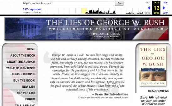www.bushlies.com archive page