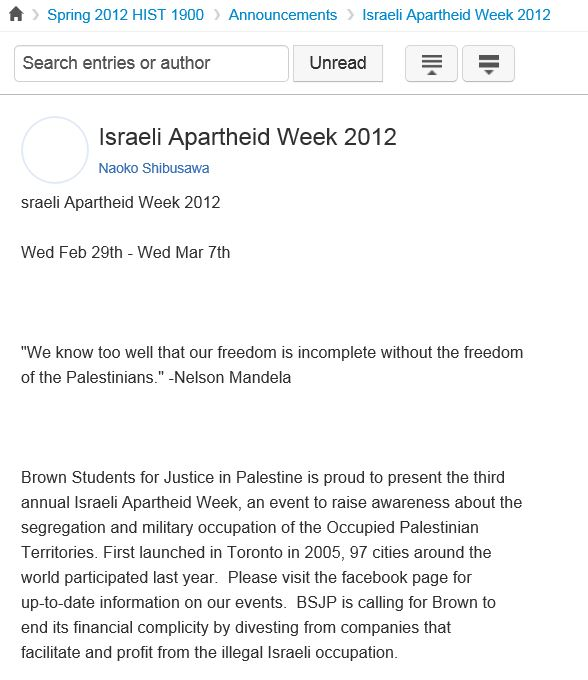Shibusawa announcement Israel Apartheid Week 2012