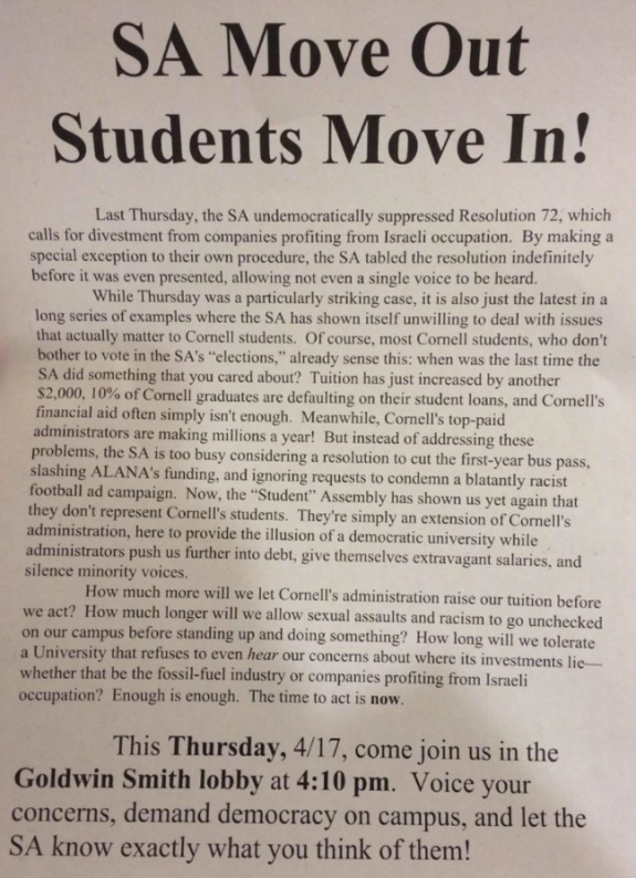 Cornell SA Protest Flyer 4-17-2014