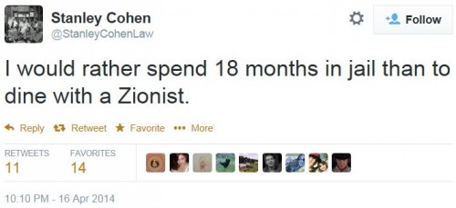 Twitter - @StanleyCohenLaw - Rather serve 18 mos than dine with Zionist