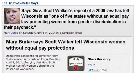 Politifact Wisconsin Mary Burke Scott Walker Equal Pay