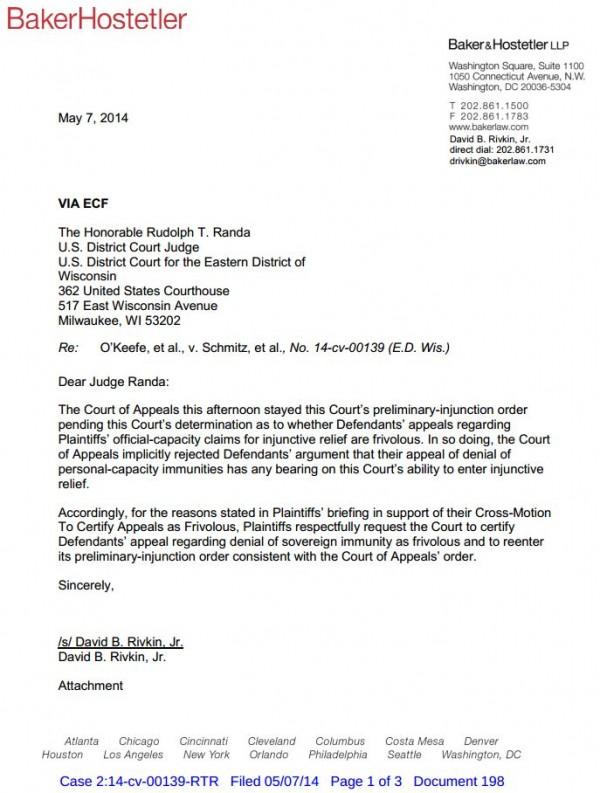 Wisconsin John Doe Case - Plaintiffs letter requesting certification of frivolous appeal