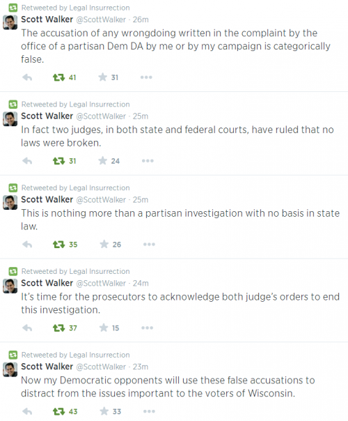 Twitter - Scott Walker re Prosecutor Allegations in Media June 19 2014