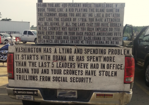 Bumper Stickers - Porter TX - Anti Obama Truck