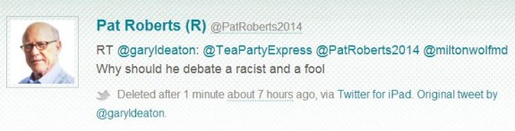 Pat Roberts 2014 deleted tweet re Milton Wolf racist and fool