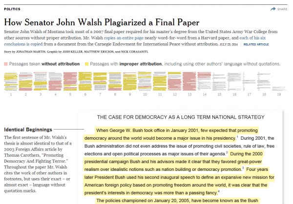 Senator John Walsh NY Times Graphic Plagiarism