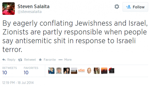Twitter - @SteveSalaita - Zionists partly responsible for antisemitic shit