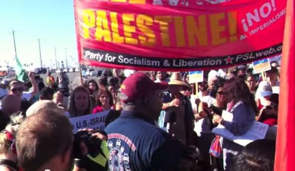 Oakland Block the Boat socialist banner