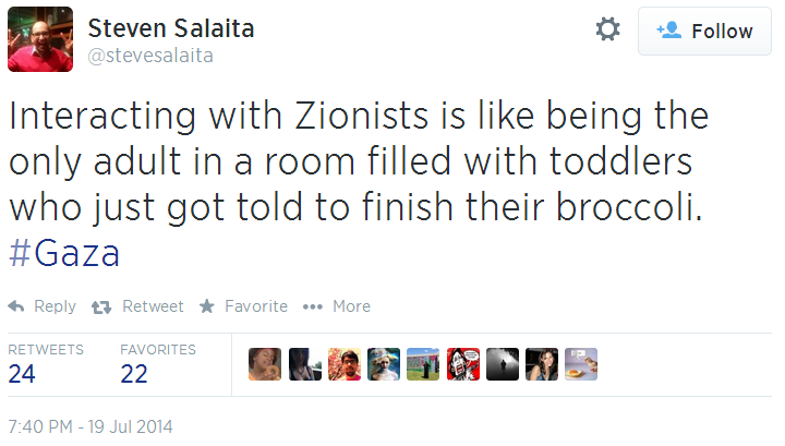 Twitter _ stevesalaita_ Interacting with Zionists is like dealing with toddlers
