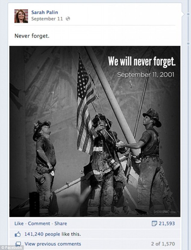 Sarah Palin Facebook Page Three Firefighters Image