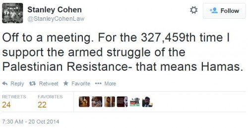 Stanley Cohen Twitter Support Hamas October 20 2014