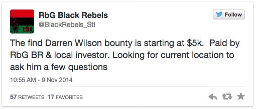 Darren Wilson $5k bounty #Ferguson