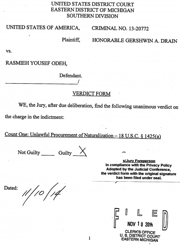 Rasmieh Odeh Case - Jury Verdict Form