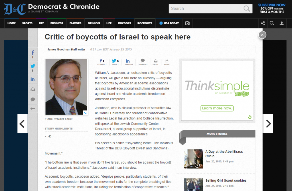 http://www.democratandchronicle.com/story/news/2015/01/25/israel-boycott-jacobson-academic-freedom-american-studies-association/22325819/
