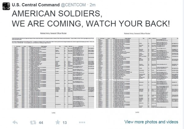 Twitter Centcom Hack American soldiers Watch Your Back