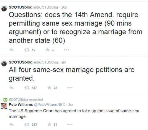 Twitter Supreme Court takes Gay Marriage Cases