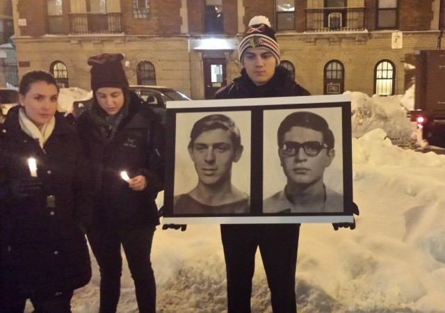 [Vigil in memory of Edward Joffe and Leon Kanner, DePaul University, outside fundraiser for Rasmea Odeh]