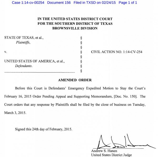 Texas v. U.S. - Immigration Case - Amended Order Re Emergency Stay Motion Deadline