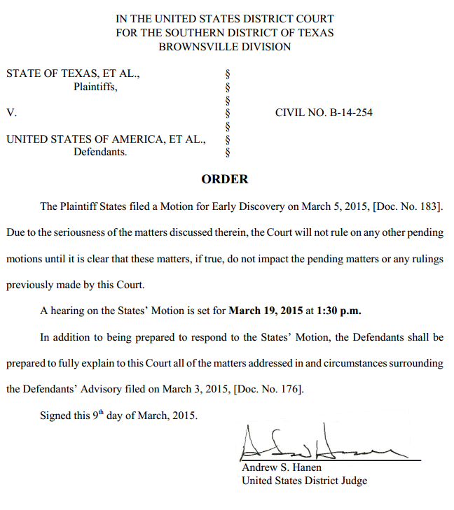 Texas v. U.S. - Immigration Case - Order March 5 2015 re U.S. Advisory