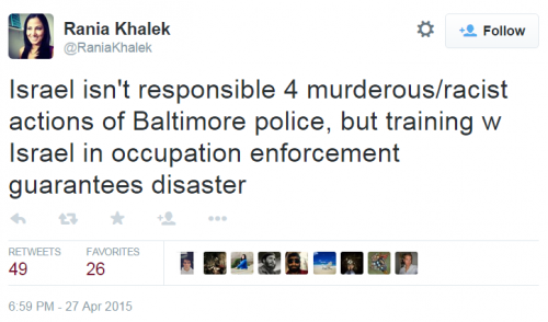 Twitter Baltimore Palestine Rania Khalek Occupation Enforcement