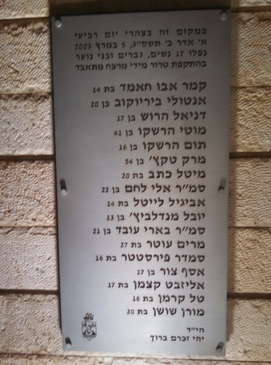 Haifa Bus 37 Memorial Plaque