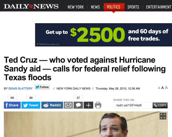 NY Daily News Ted Cruz President Texas Federal Aid Sandy Hurricane Relief Hypocrisy media bias pork spending bill