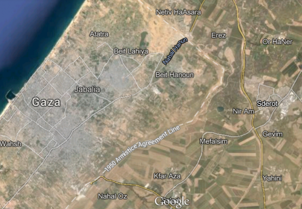 Sderot Satellite Map North Gaza