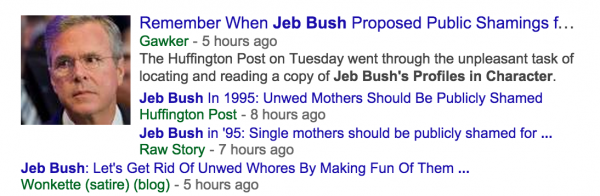 No, Jeb Bush did not say unwed mothers should be publicly shamed