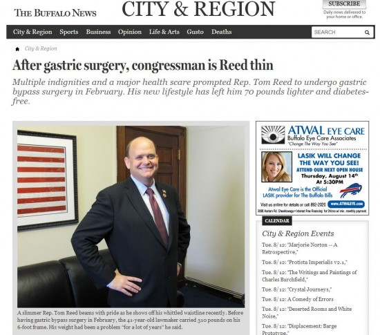 Tom Reed Buffalo News Gastric Bypass 2013