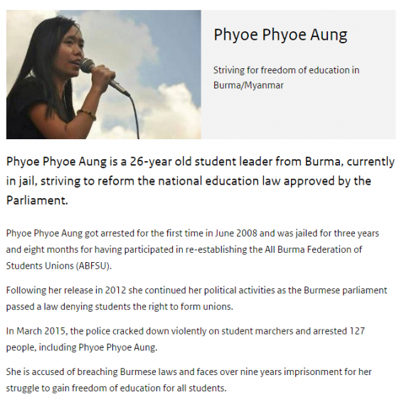 Phyoe Phyoe Aung Human Rights Tulip