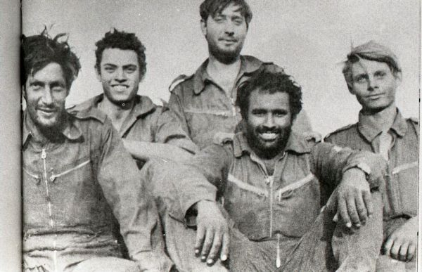 (Avigdor Kahalani (bearded) and his crew in 1973 (Courtesy: IDF))