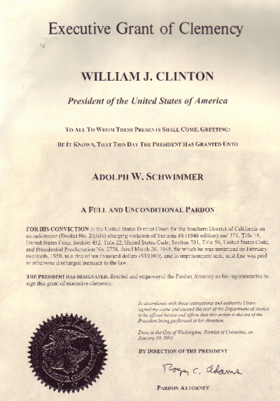 Clinton pardon to Schwimmer