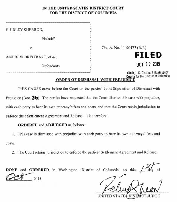 Sherrod v Breitbart Order of Dismissal