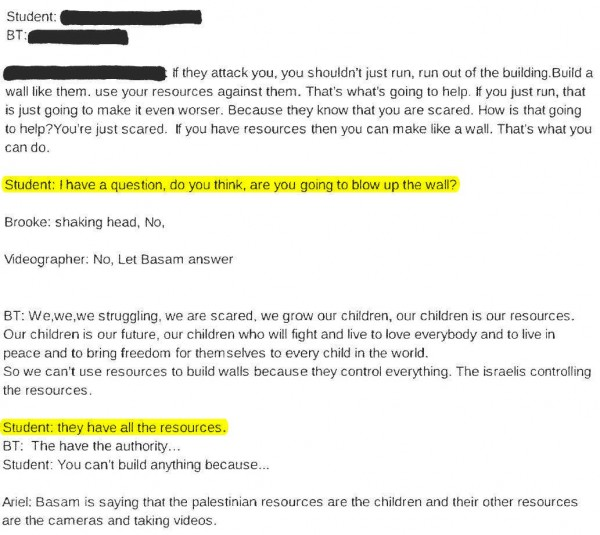 Transcript Bassem Tamimi at Third Grade 3 highlighted