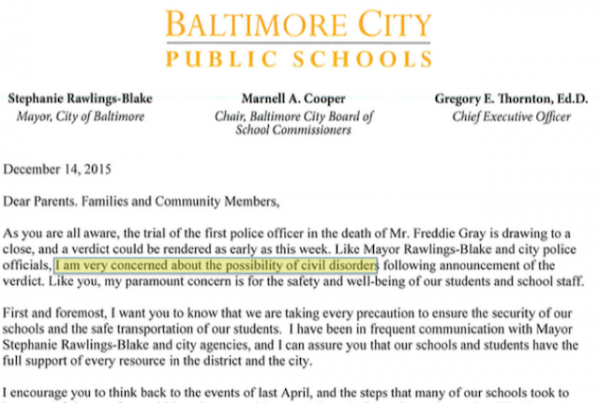 Baltimore school letter 12-14-15