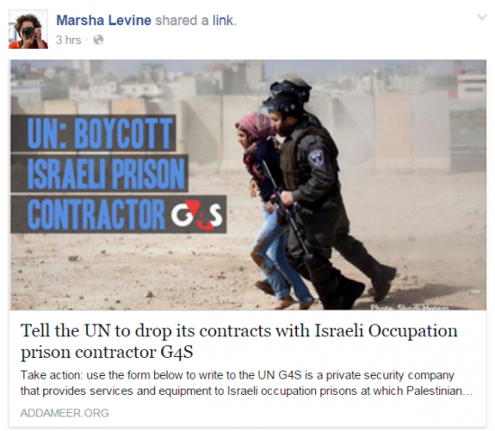 Marsha Levine Facebook Tell UN to drop contractor G4S