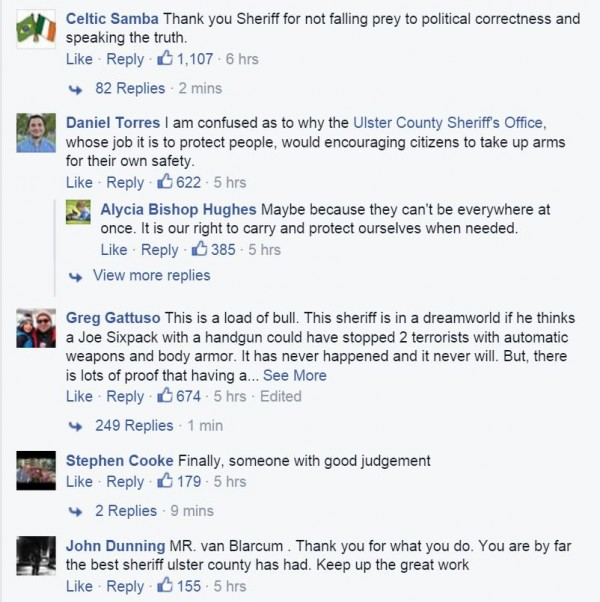 Ulster County Sheriff Permit Carry Facebook comments 1
