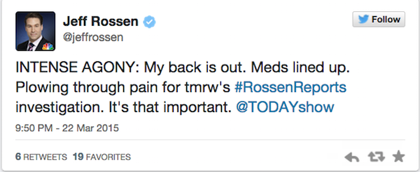 Jeff Rossen NBC Today Show pain meds Tweet 3-22-15