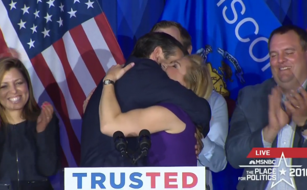 Cruz Victory Speech Wisconsin Hugging Heidi