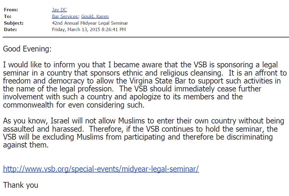 VSB Email 3-13-2015 826 Complaint JayDC