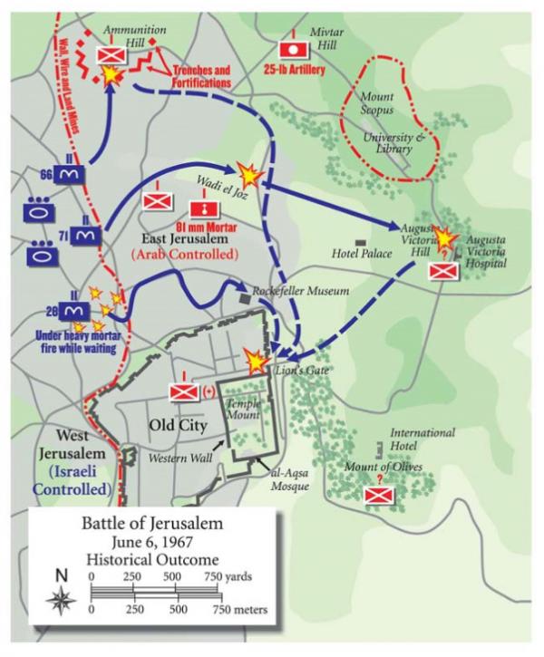 Map of Jerusalem in June 1967