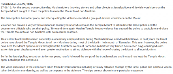 Statement of Temple Institute