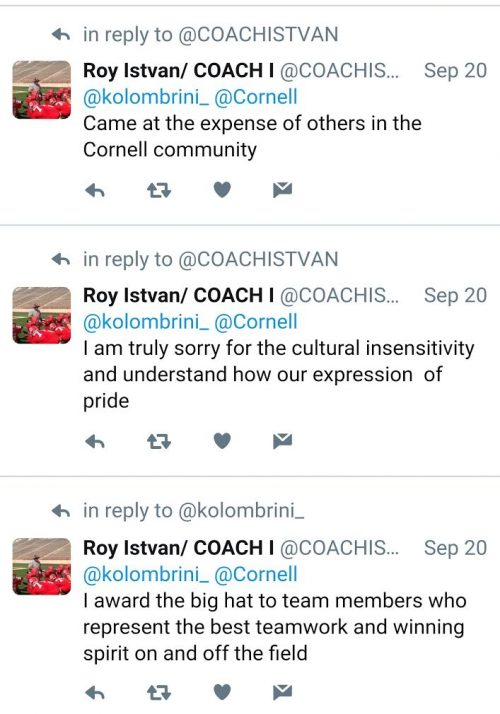 Cornell Coach Sombrero Tweet Apologies